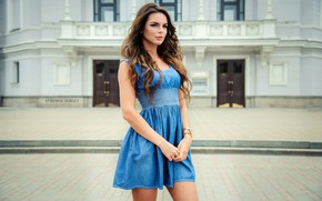 Picture pose, model, the building, portrait, makeup, figure, dress, hairstyle, brown hair, is, Anna, on the …