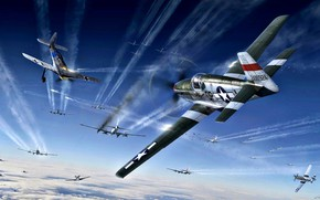 Picture Mustang, P-51, B-17, The second World war, Fw.190A, War in the air, 4th FG, P-51B-15-NA, …