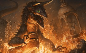 Picture Monsters, Fire, Monster, Lizard, Monster, Flame, Fantasy, Monster, Art, Art, Raptor, Fiction, Illustration, Characters, Monsters, …