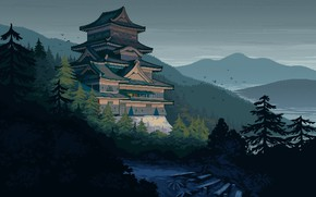 Picture mountains, birds, river, castle, Japan, stage, the gray sky, feudal, spruce forest, wooded hills