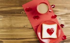 Picture coffee, petals, heart, jam, jam, toast, Toast
