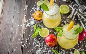 Picture ice, drink, mint, peach, lemons, Lomond