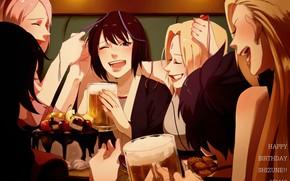 Picture girls, beer, cake, Naruto, Boruto