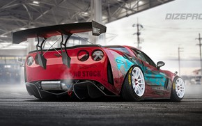 Picture Red, Auto, Corvette, Chevrolet, Machine, Chevrolet Corvette, Rendering, Dmitry Strukov, Dizepro, by Dmitry Strukov, Corvette …