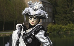 Picture decoration, hat, dress, mask, carnival costume