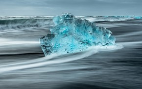 Picture cold, ice, winter, sea, wave, the sky, water, shore, wave, ice, transparent, surf, floe, North, …