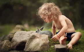Picture summer, nature, stones, animal, rabbit, girl, curls, child, Marianne Smolin