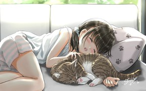 Picture sleeping, girl, pillow, pajamas, on the couch, in the room, tabby cat, sweet dream, by …