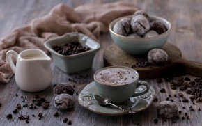 Picture coffee, cookies, cream, Cup, coffee beans, chocolate, crema