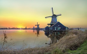 Picture sunset, the evening, mill