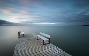 Picture sea, bridge, bench