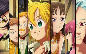 Picture collage, characters, Nanatsu no Taizai, The seven deadly sins