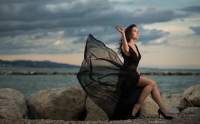 Picture girl, stones, the wind, coast, dress, Mila Volkova