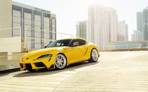 Picture yellow, building, sports car, Toyota Supra, 2020 Toyota GR Above