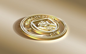 Picture Logo, Golden, Football, Sport, Soccer, Manchester City, Emblem, English Club