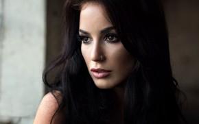 Picture close-up, face, model, portrait, makeup, brunette, hairstyle, beauty, bokeh, Mark Prinz