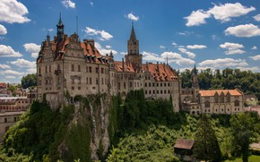 Picture the sky, trees, rock, castle, Germany, Germany, Baden-Württemberg, Baden-Württemberg, Sigmaringen Castle, Sigmaringen, Sigmaringen, Sigmaringen Castle
