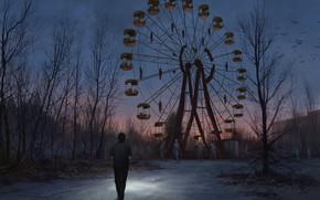 Picture The evening, Monsters, People, Wheel, Ferris wheel, Park, Chernobyl, Pripyat, Art, Monster, Stefan Koidl, by …