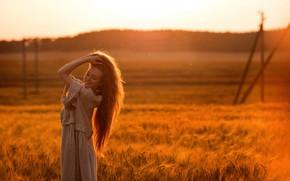 Picture field, summer, girl, the sun, pose, smile, bokeh, Tatiana GUZ