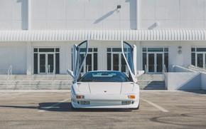 Picture White, Parking, Supercar, Lamborghini Diablo, Scissor doors