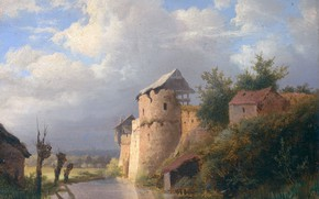 Picture landscape, oil, picture, 1860, Louwrens Hanedoes, Lourens Ganados, The Old Castle