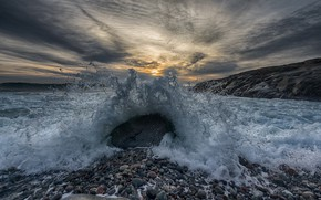 Picture wave, sunset, squirt, nature, stones, shore, coast