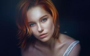 Picture look, girl, face, portrait, the dark background, Alexander Drobkov-Light, Maria Larina