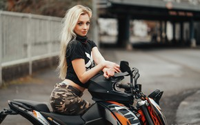 Picture look, girl, pose, hands, blonde, motorcycle, Loba, Andreas-Joachim Lins