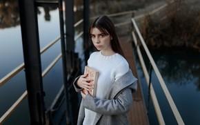 Picture girl, freckles, book, coat, sweater, Pavel Portnov