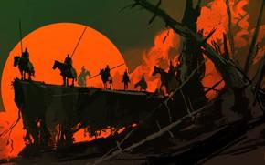 Picture Sunset, The sun, Figure, Fantasy, Art, War, Concept Art, Dominik Mayer, Environments, by Dominik Mayer, ...