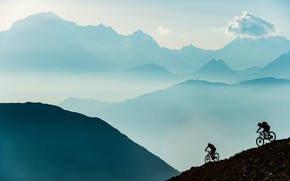 Picture mountains, sport, cyclists, athletes