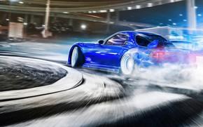 Picture Auto, Blue, Smoke, Machine, Skid, Drift, Mazda RX-7, RX7, Transport & Vehicles, Javier Oquendo, by …