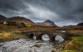 Picture house, river, sky, bridge, land, mountains, clouds, rocks, landscapes, Iceland, gray, stream, cloudy, 4k uhd …