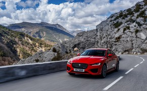 Picture road, mountains, red, speed, Jaguar, sedan, 2020, Jaguar XE