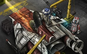 Wallpaper Figure, Fighter, Star Wars, R2D2, Art, Star Wars, Illustration, R2-D2, Comic Art, Droids, The droids, ...