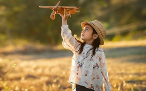 Picture toy, girl, the plane