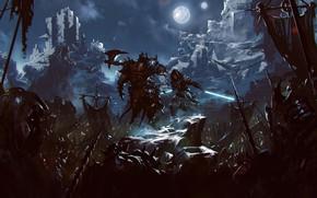 Picture Night, The moon, Warrior, Soldiers, Battle, Fantasy, Art, Lightsaber, Fiction, Jedi, Jedi, Sword, Orcs, Orcs, …