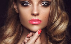 Picture close-up, face, eyelashes, background, model, hand, portrait, makeup, lipstick, hairstyle, blonde, lips, beautiful, bokeh, manicure