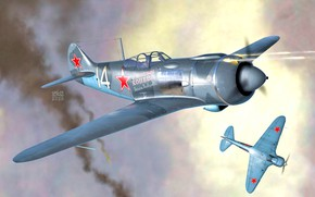 Picture Fighter, La-5, THE RED ARMY AIR FORCE, Radial engine, Piston aircraft, La-5F, The pilot ACE, …
