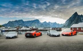 Picture the sky, water, mountains, machine, Lamborghini, Evo, Huracan