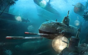 Picture The ocean, Sea, The game, Submarine, Boats, Art, Game, Torpedoes, Submarine, Submarines, Torpedo, Game Art, …