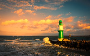 Picture sea, wave, landscape, sunset, nature, stones, lighthouse, Germany, surf, Baltika, Warnemunde