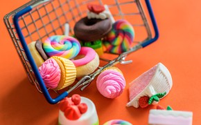 Picture toys, sweets, Lollipop, basket