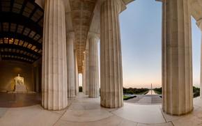 Picture columns, Washington, USA, obelisk, the Lincoln memorial