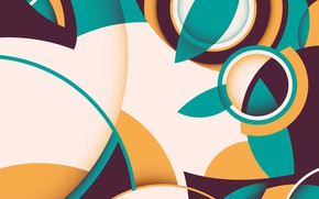 Picture line, circles, abstraction, retro, vector, background