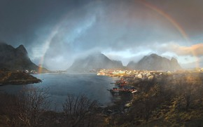 Picture water, clouds, light, mountains, nature, lake, home, rainbow, Dariusz Bruhnke