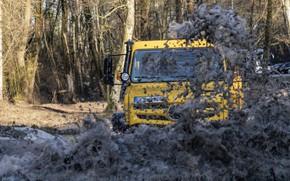 Picture water, squirt, yellow, Mercedes-Benz, dirt, truck, Unimog