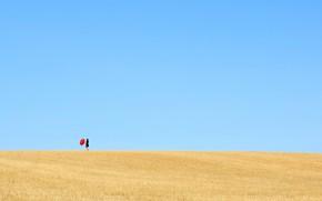Picture field, summer, the sky, girl, umbrella