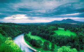 Picture Mountains, River, Bend, Oak