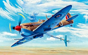 """Picture The second World war, North Africa, with rain, Spitfire Mk.Vc/trop, Bf.109F, universal wing type """"C"""", ..."""